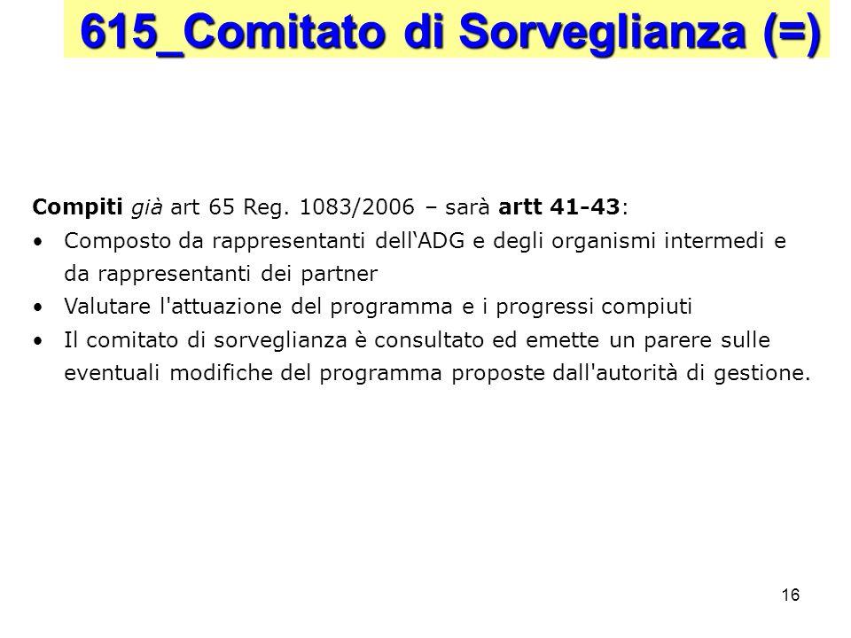 16 615_Comitato di Sorveglianza (=) Compiti già art 65 Reg. 1083/2006 – sarà artt 41-43: Composto da rappresentanti dellADG e degli organismi intermed