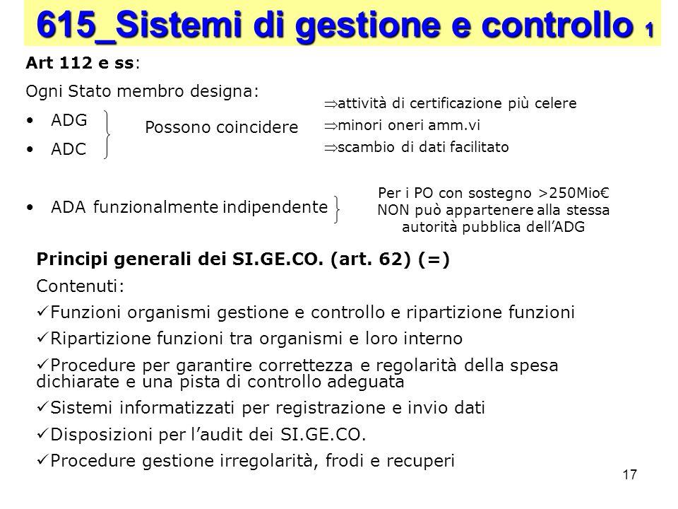 17 615_Sistemi di gestione e controllo 1 Art 112 e ss: Ogni Stato membro designa: ADG ADC ADA funzionalmente indipendente Possono coincidere Principi