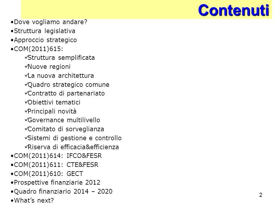 2Contenuti Dove vogliamo andare? Struttura legislativa Approccio strategico COM(2011)615: Struttura semplificata Nuove regioni La nuova architettura Q