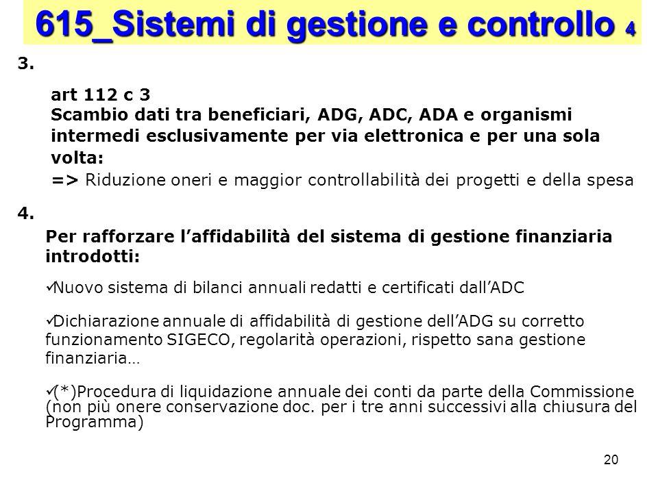 20 Per rafforzare laffidabilità del sistema di gestione finanziaria introdotti: Nuovo sistema di bilanci annuali redatti e certificati dallADC Dichiar