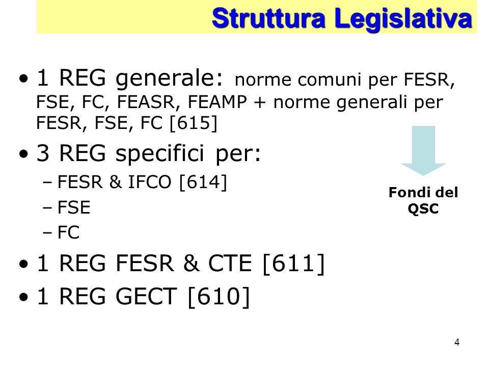 4 Struttura Legislativa Struttura Legislativa 1 REG generale: norme comuni per FESR, FSE, FC, FEASR, FEAMP + norme generali per FESR, FSE, FC [615] 3