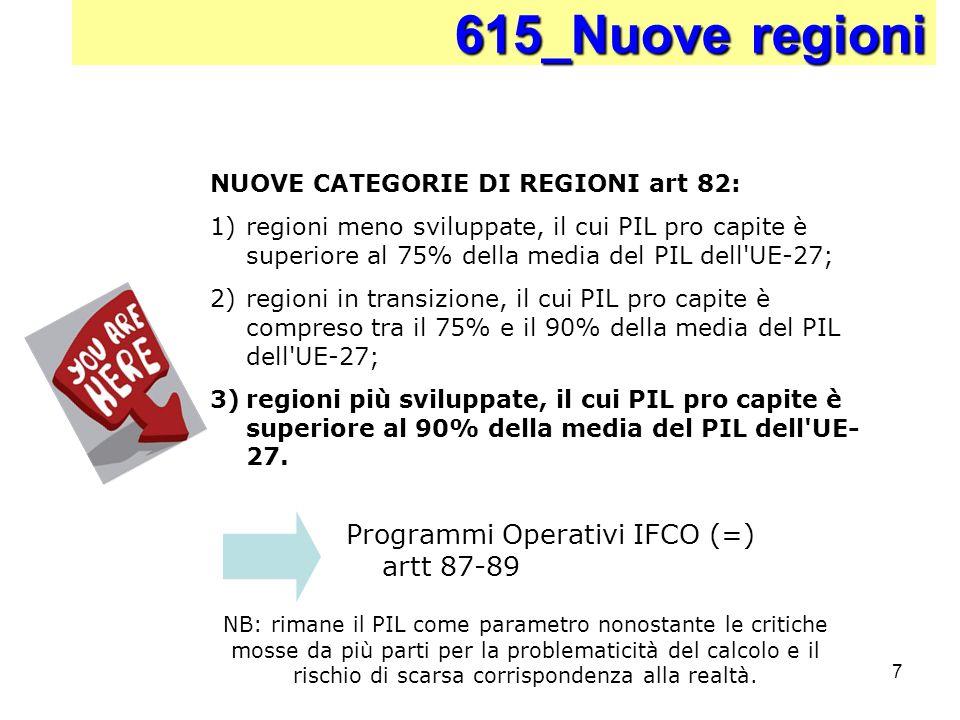 7 Programmi Operativi IFCO (=) artt 87-89 615_Nuove regioni NUOVE CATEGORIE DI REGIONI art 82: 1)regioni meno sviluppate, il cui PIL pro capite è supe