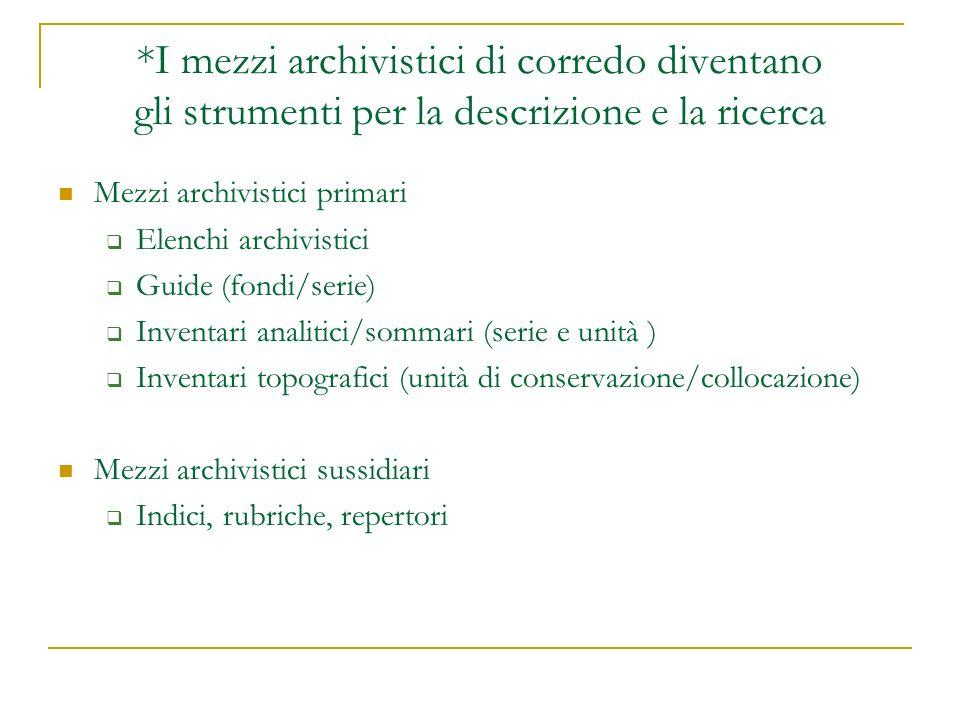 *I mezzi archivistici di corredo diventano gli strumenti per la descrizione e la ricerca Mezzi archivistici primari Elenchi archivistici Guide (fondi/