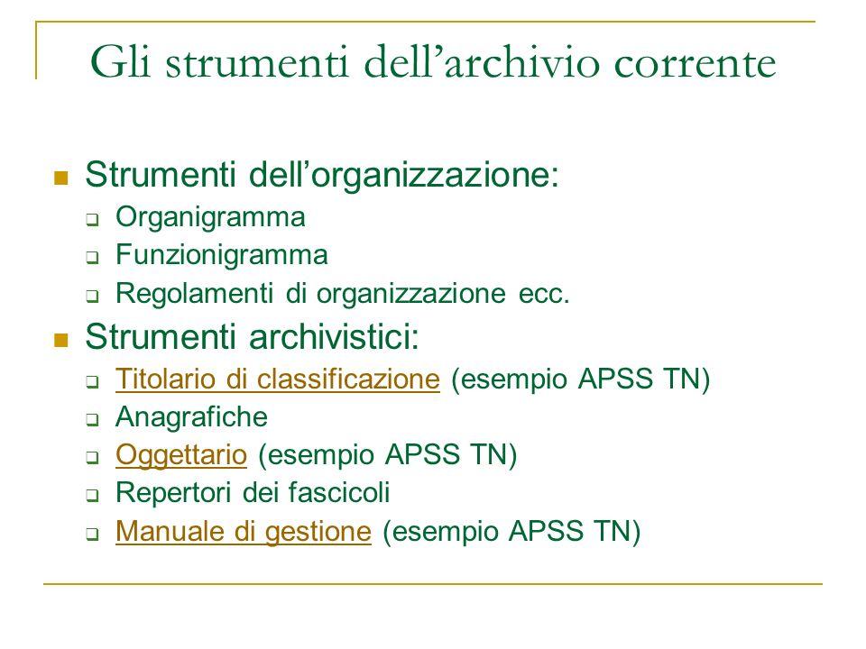 Gli strumenti dellarchivio corrente Strumenti dellorganizzazione: Organigramma Funzionigramma Regolamenti di organizzazione ecc. Strumenti archivistic