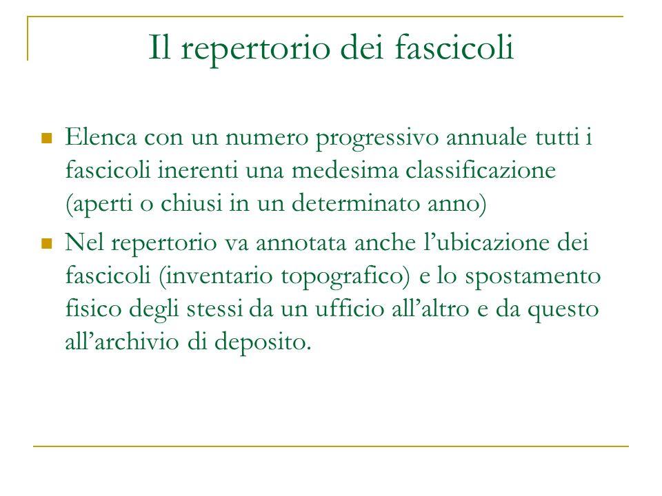 Il repertorio dei fascicoli Elenca con un numero progressivo annuale tutti i fascicoli inerenti una medesima classificazione (aperti o chiusi in un de