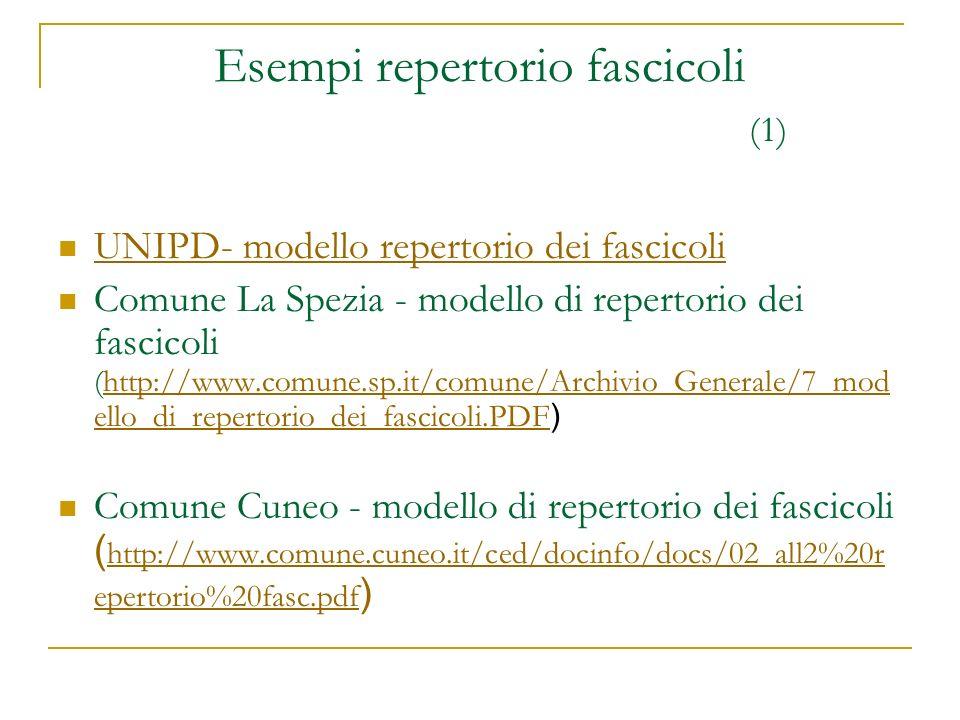 Esempi repertorio fascicoli (1) UNIPD- modello repertorio dei fascicoli Comune La Spezia - modello di repertorio dei fascicoli (http://www.comune.sp.i