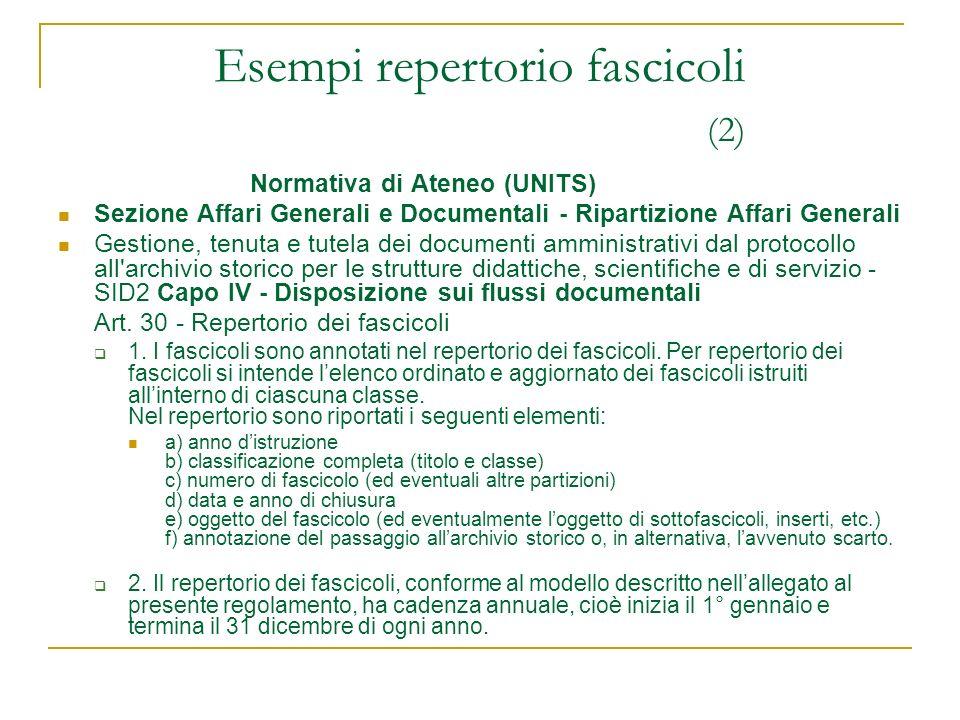 Normativa di Ateneo (UNITS) Sezione Affari Generali e Documentali - Ripartizione Affari Generali Gestione, tenuta e tutela dei documenti amministrativ