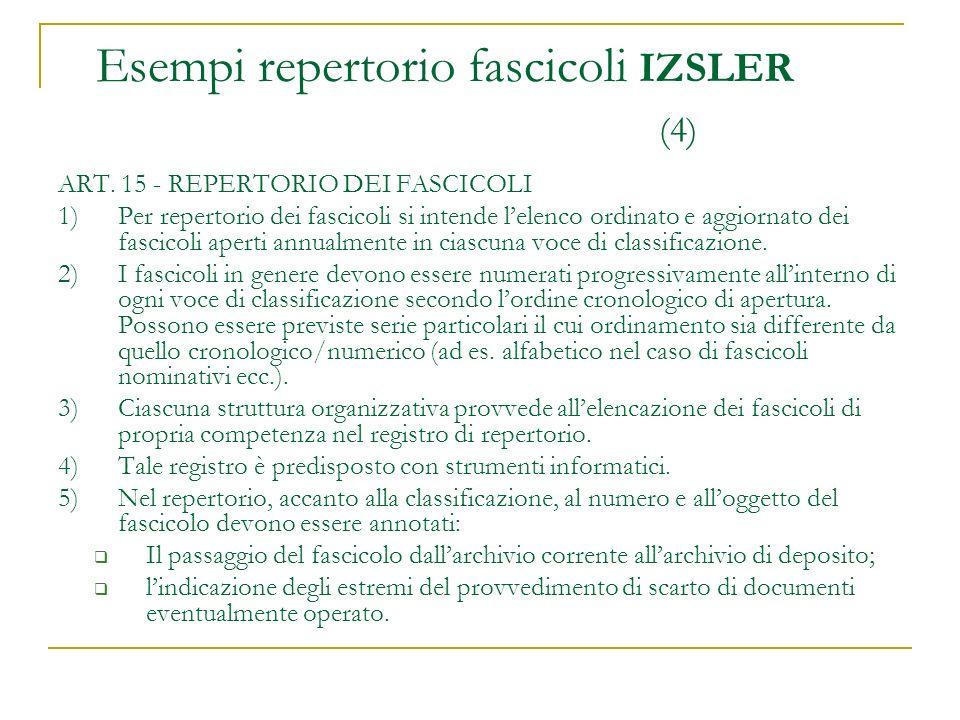 ART. 15 - REPERTORIO DEI FASCICOLI 1)Per repertorio dei fascicoli si intende lelenco ordinato e aggiornato dei fascicoli aperti annualmente in ciascun