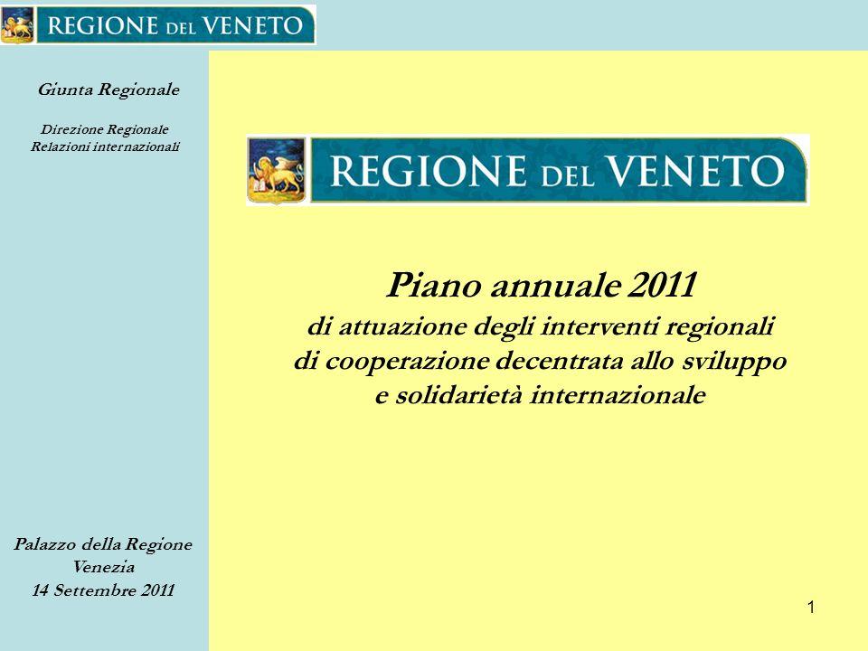 Giunta Regionale Direzione Regionale Relazioni internazionali Palazzo della Regione Venezia 14 Settembre 2011 1 Piano annuale 2011 di attuazione degli interventi regionali di cooperazione decentrata allo sviluppo e solidarietà internazionale