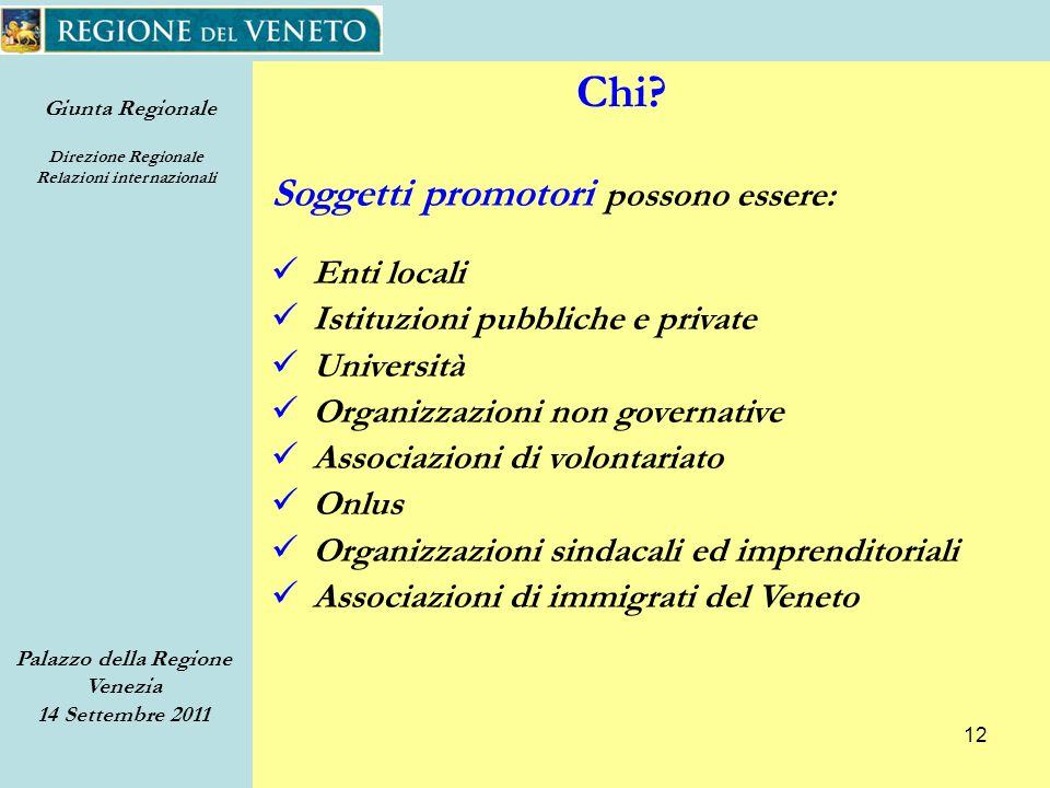 Giunta Regionale Direzione Regionale Relazioni internazionali Palazzo della Regione Venezia 14 Settembre 2011 12 Chi.