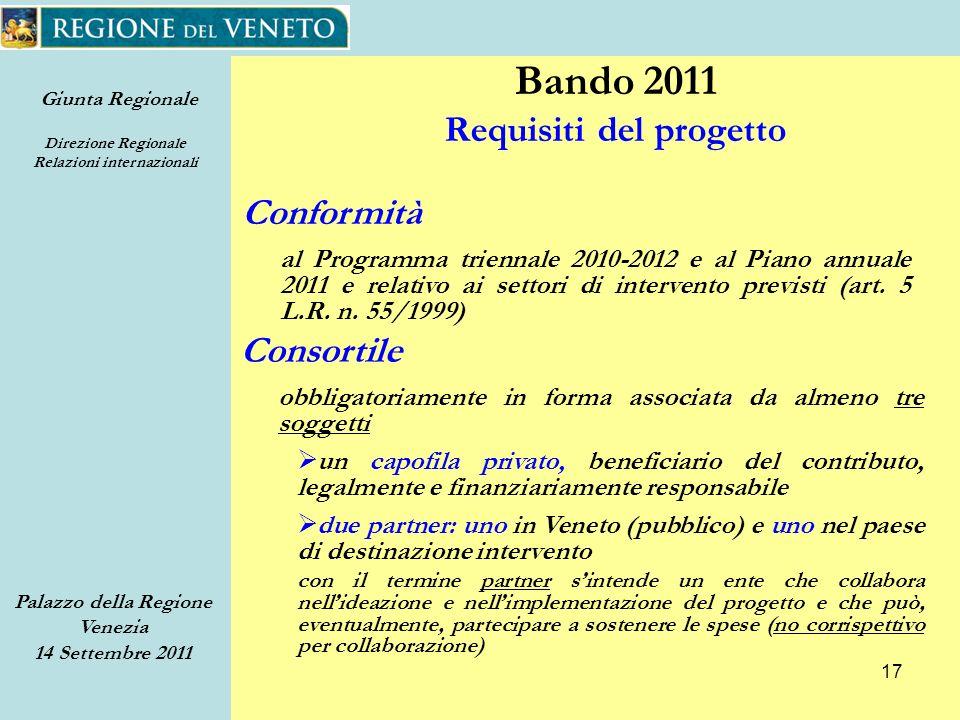 Giunta Regionale Direzione Regionale Relazioni internazionali Palazzo della Regione Venezia 14 Settembre 2011 17 Conformità al Programma triennale 2010-2012 e al Piano annuale 2011 e relativo ai settori di intervento previsti (art.