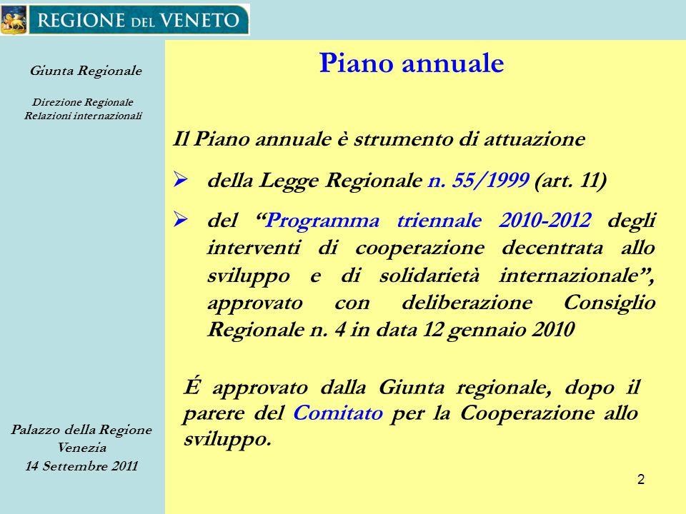 Giunta Regionale Direzione Regionale Relazioni internazionali Palazzo della Regione Venezia 14 Settembre 2011 2 Piano annuale Il Piano annuale è strumento di attuazione della Legge Regionale n.