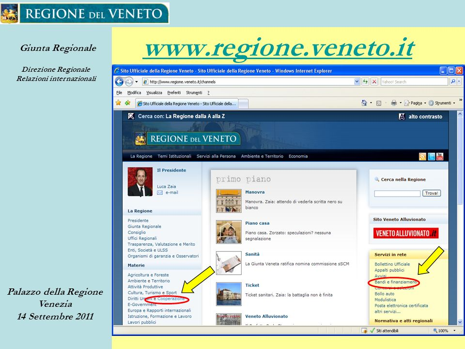 Giunta Regionale Direzione Regionale Relazioni internazionali Palazzo della Regione Venezia 14 Settembre 2011 40 www.regione.veneto.it