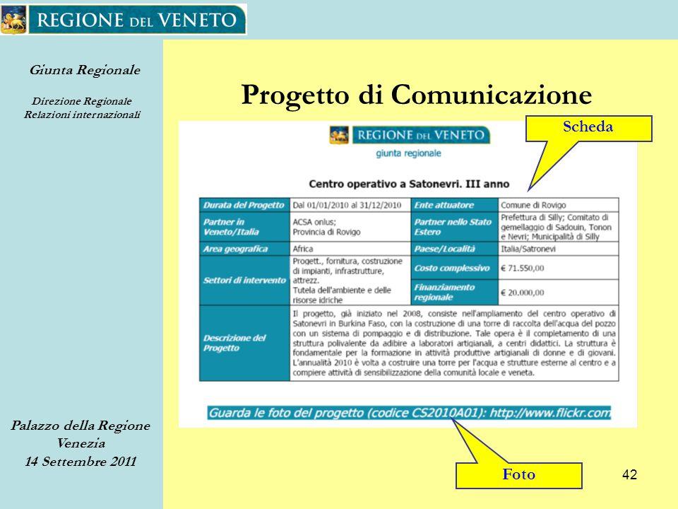 Giunta Regionale Direzione Regionale Relazioni internazionali Palazzo della Regione Venezia 14 Settembre 2011 42 Progetto di Comunicazione Scheda Foto