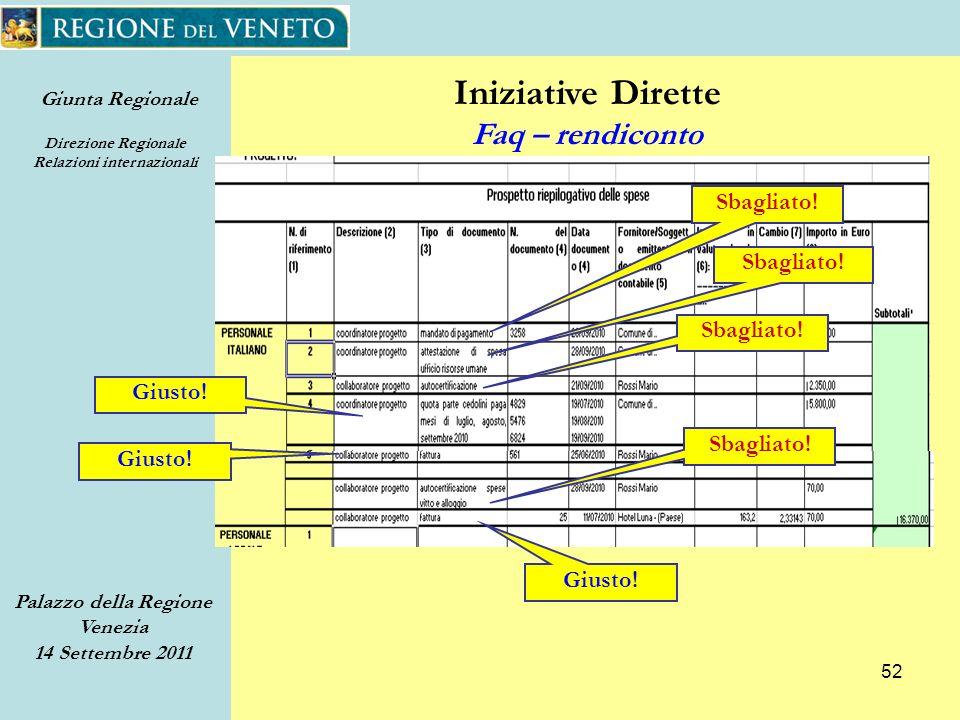 Giunta Regionale Direzione Regionale Relazioni internazionali Palazzo della Regione Venezia 14 Settembre 2011 52 Iniziative Dirette Faq – rendiconto Sbagliato.