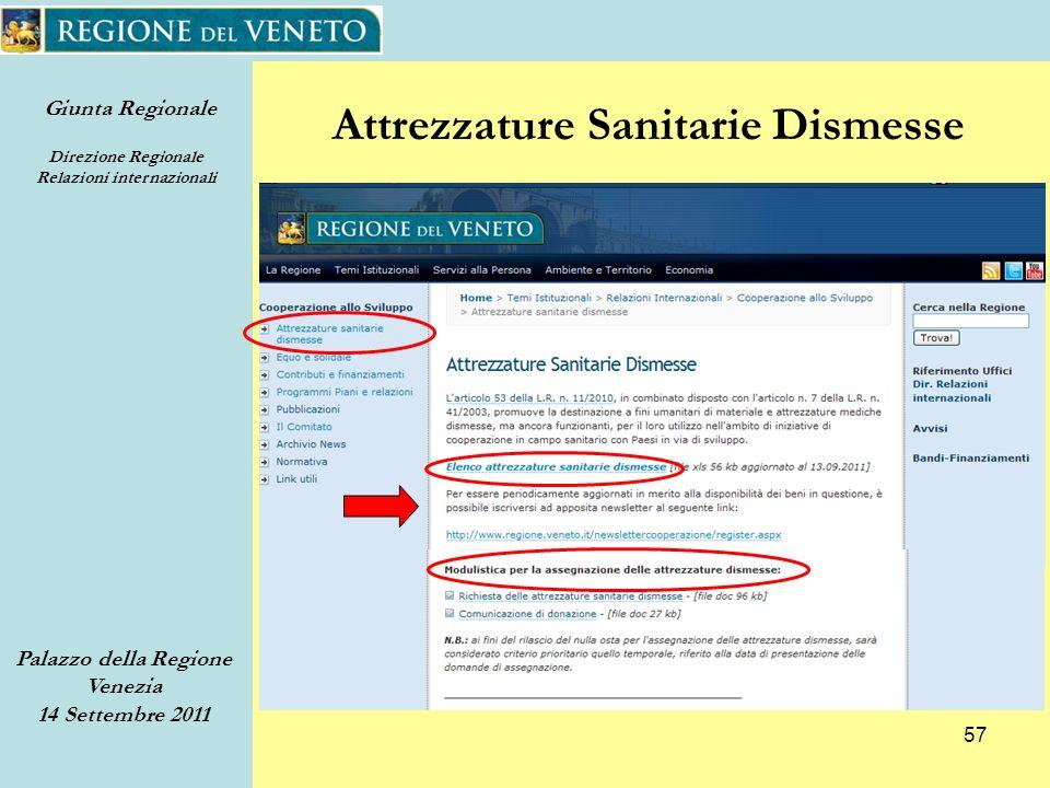 Giunta Regionale Direzione Regionale Relazioni internazionali Palazzo della Regione Venezia 14 Settembre 2011 57 Attrezzature Sanitarie Dismesse