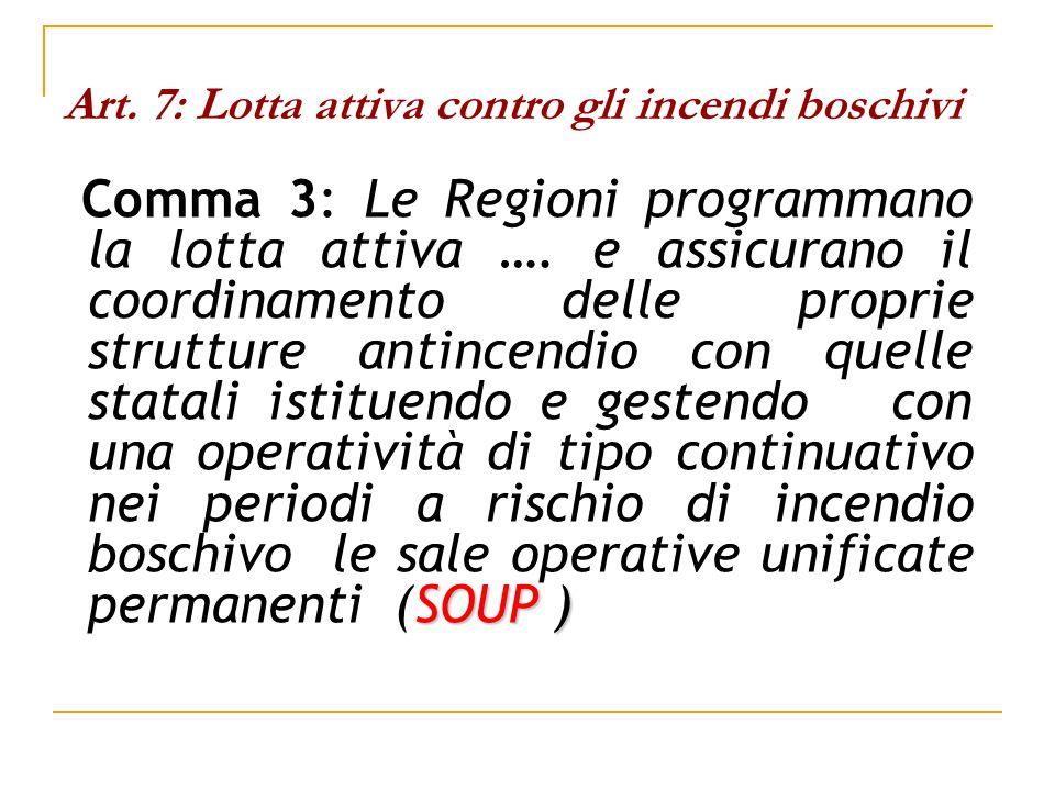 Art. 7: Lotta attiva contro gli incendi boschivi SOUP ) Comma 3: Le Regioni programmano la lotta attiva …. e assicurano il coordinamento delle proprie