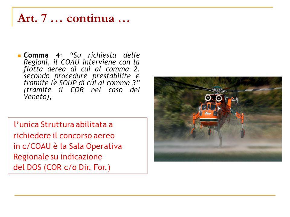 Art. 7 … continua … Comma 4: Su richiesta delle Regioni, il COAU interviene con la flotta aerea di cui al comma 2, secondo procedure prestabilite e tr