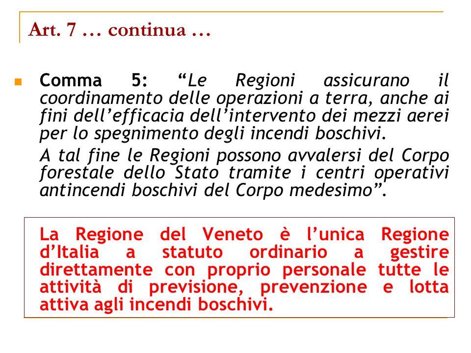Art. 7 … continua … Comma 5: Le Regioni assicurano il coordinamento delle operazioni a terra, anche ai fini dellefficacia dellintervento dei mezzi aer