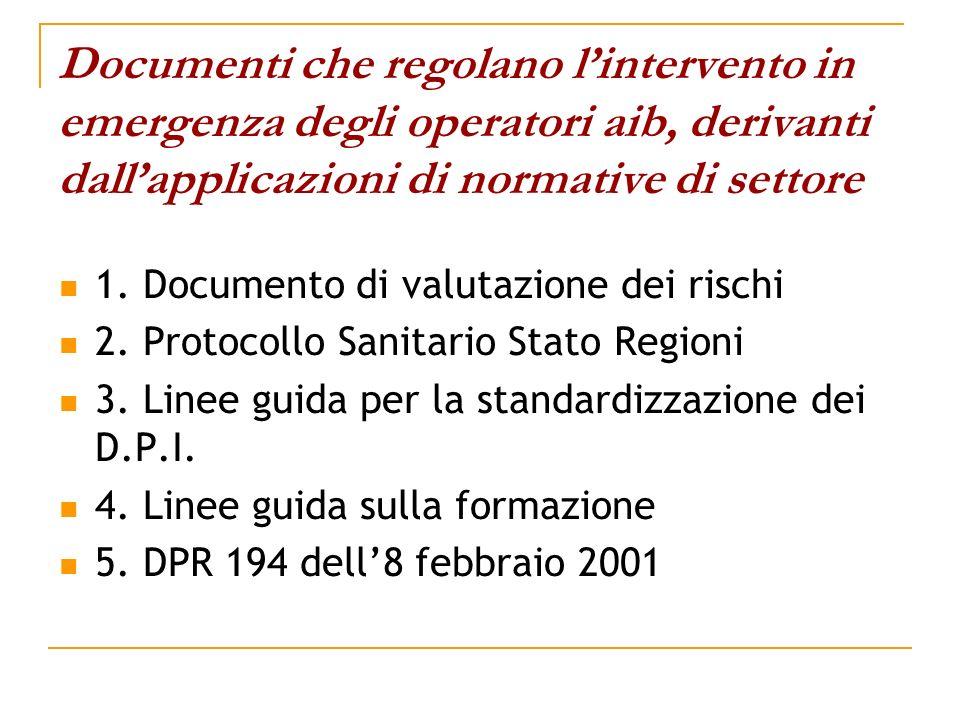 Documenti che regolano lintervento in emergenza degli operatori aib, derivanti dallapplicazioni di normative di settore 1. Documento di valutazione de
