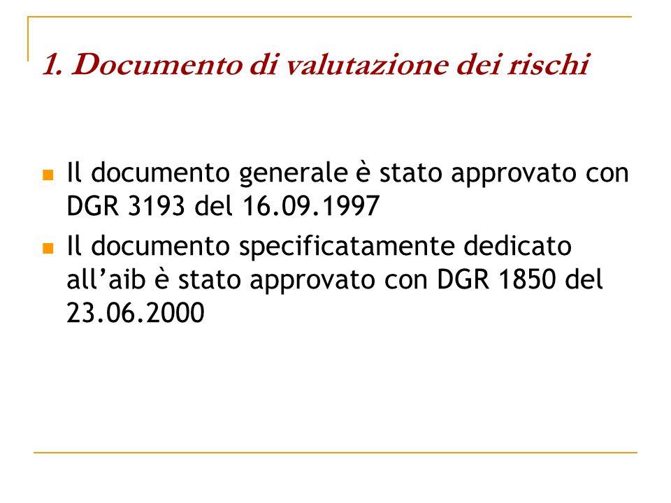 1. Documento di valutazione dei rischi Il documento generale è stato approvato con DGR 3193 del 16.09.1997 Il documento specificatamente dedicato alla