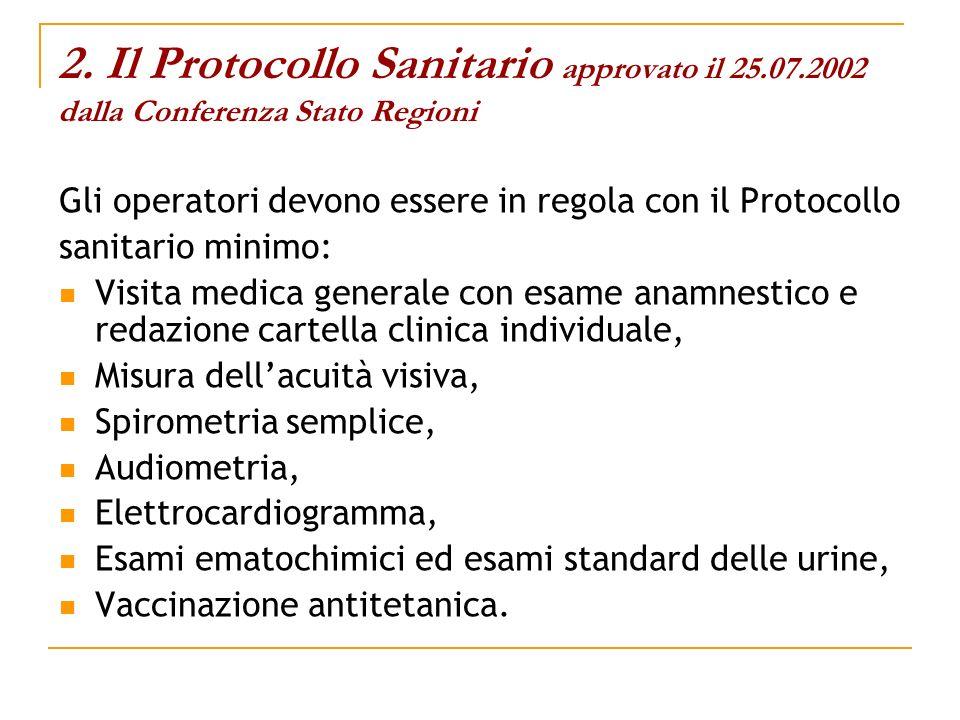 2. Il Protocollo Sanitario approvato il 25.07.2002 dalla Conferenza Stato Regioni Gli operatori devono essere in regola con il Protocollo sanitario mi