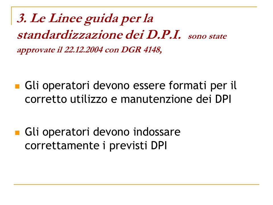 3. Le Linee guida per la standardizzazione dei D.P.I. sono state approvate il 22.12.2004 con DGR 4148, Gli operatori devono essere formati per il corr
