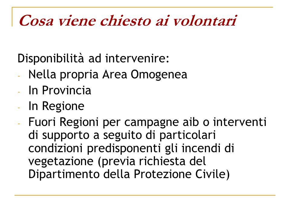 Cosa viene chiesto ai volontari Disponibilità ad intervenire: - Nella propria Area Omogenea - In Provincia - In Regione - Fuori Regioni per campagne a