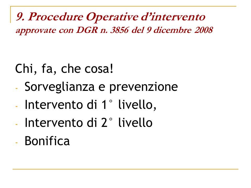 9. Procedure Operative dintervento approvate con DGR n. 3856 del 9 dicembre 2008 Chi, fa, che cosa! - Sorveglianza e prevenzione - Intervento di 1° li