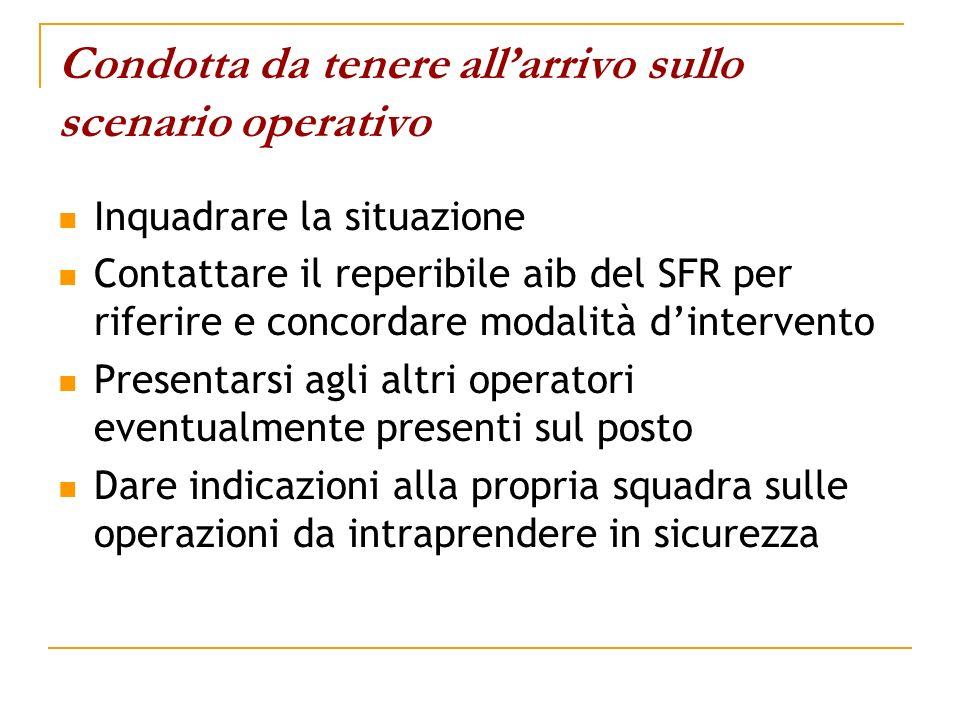 Condotta da tenere allarrivo sullo scenario operativo Inquadrare la situazione Contattare il reperibile aib del SFR per riferire e concordare modalità