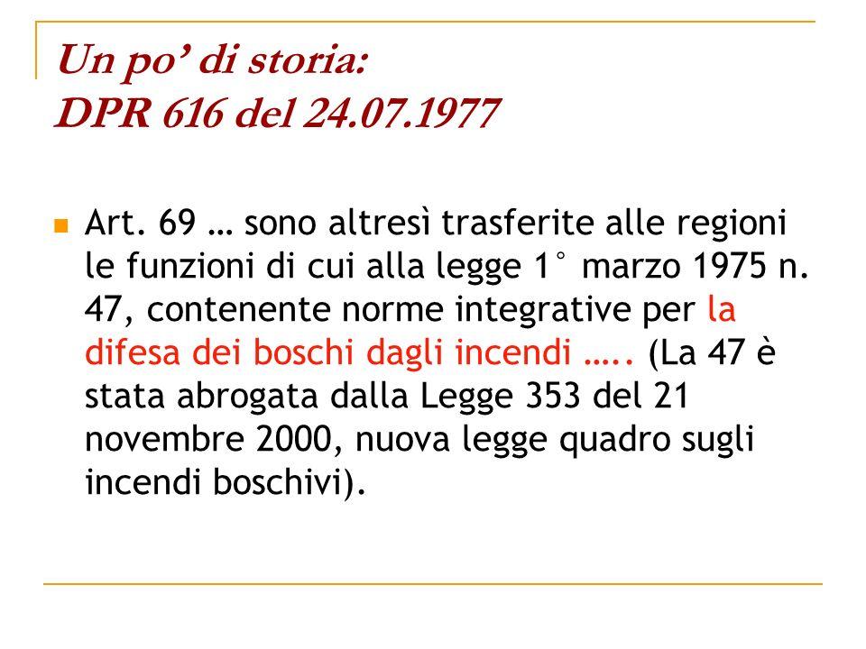 Un po di storia: DPR 616 del 24.07.1977 Art. 69 … sono altresì trasferite alle regioni le funzioni di cui alla legge 1° marzo 1975 n. 47, contenente n