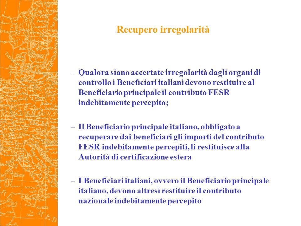 Recupero irregolarità –Qualora siano accertate irregolarità dagli organi di controllo i Beneficiari italiani devono restituire al Beneficiario principale il contributo FESR indebitamente percepito; –Il Beneficiario principale italiano, obbligato a recuperare dai beneficiari gli importi del contributo FESR indebitamente percepiti, li restituisce alla Autorità di certificazione estera –I Beneficiari italiani, ovvero il Beneficiario principale italiano, devono altresì restituire il contributo nazionale indebitamente percepito
