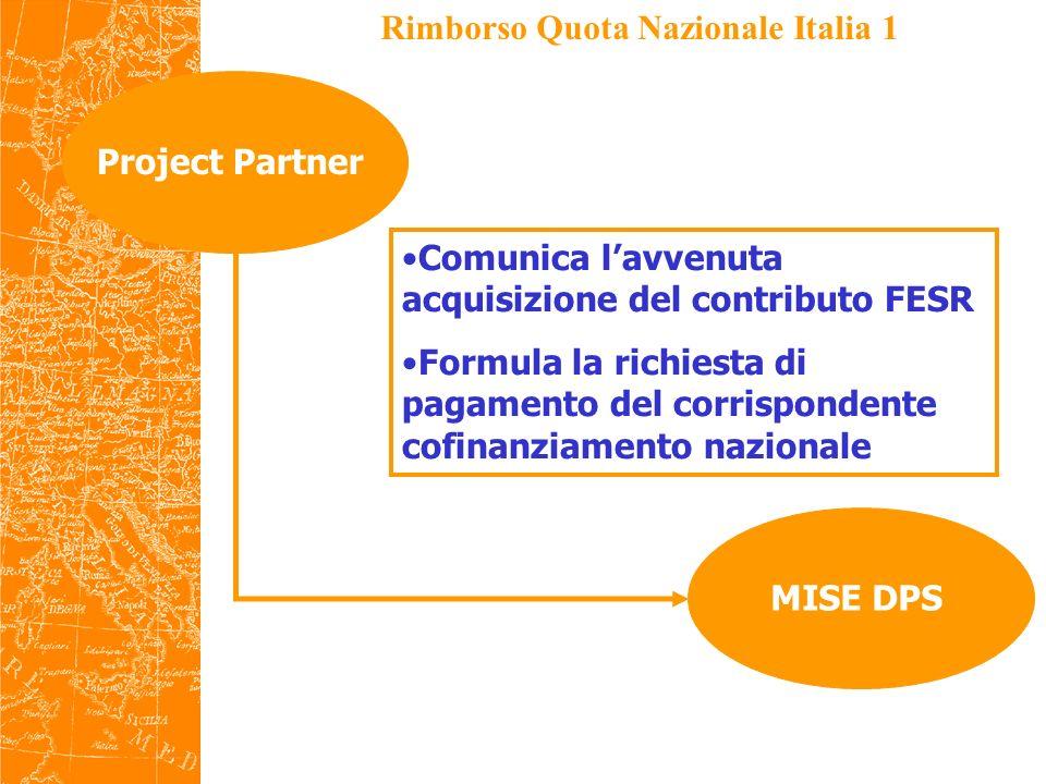 Rimborso Quota Nazionale Italia 2 MISE DPSMEF IGRUE Verifica la richiesta di pagamento Valida ed invia ad IGRUE (con le indicazioni necessarie per laccrediti)