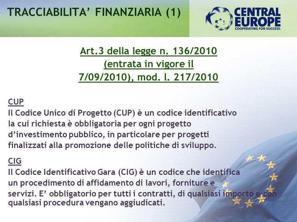 TRACCIABILITA FINANZIARIA (1) Art.3 della legge n. 136/2010 (entrata in vigore il 7/09/2010), mod. l. 217/2010 CUP Il Codice Unico di Progetto (CUP) è