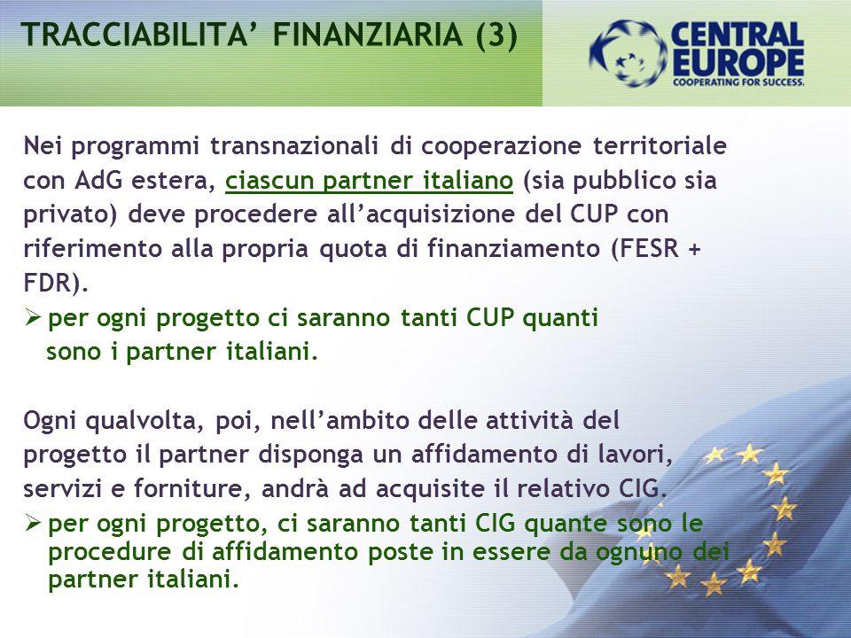 Nei programmi transnazionali di cooperazione territoriale con AdG estera, ciascun partner italiano (sia pubblico sia privato) deve procedere allacquisizione del CUP con riferimento alla propria quota di finanziamento (FESR + FDR).