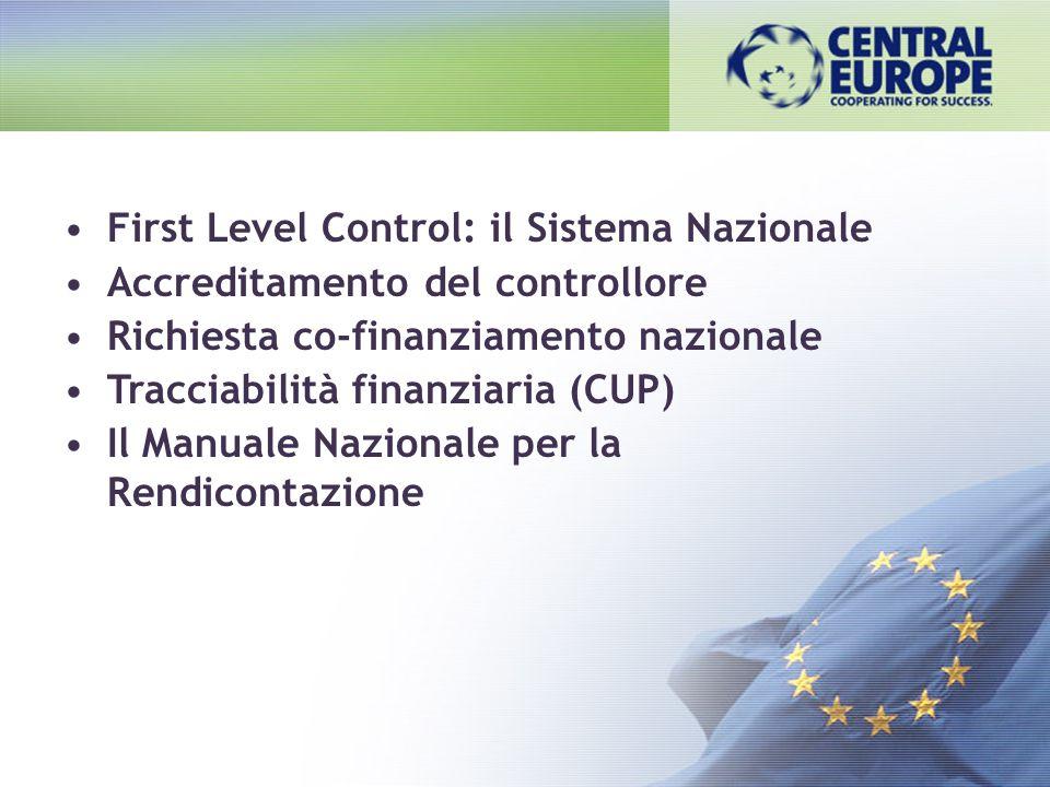 First Level Control: il Sistema Nazionale Accreditamento del controllore Richiesta co-finanziamento nazionale Tracciabilità finanziaria (CUP) Il Manua