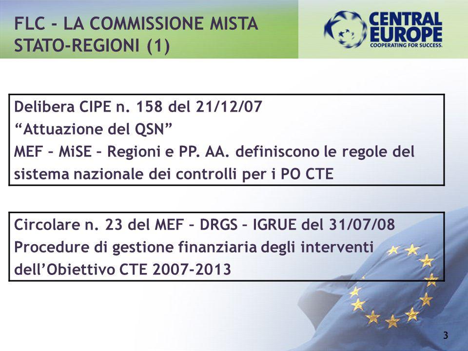 FLC - LA COMMISSIONE MISTA STATO-REGIONI (1) 3 Delibera CIPE n. 158 del 21/12/07 Attuazione del QSN MEF – MiSE – Regioni e PP. AA. definiscono le rego