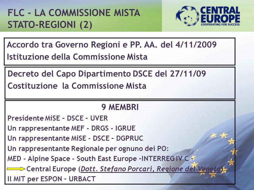 Accordo tra Governo Regioni e PP. AA. del 4/11/2009 Istituzione della Commissione Mista Decreto del Capo Dipartimento DSCE del 27/11/09 Costituzione l
