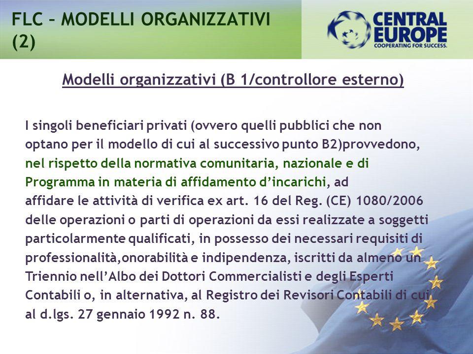 FLC – MODELLI ORGANIZZATIVI (2) I singoli beneficiari privati (ovvero quelli pubblici che non optano per il modello di cui al successivo punto B2)provvedono, nel rispetto della normativa comunitaria, nazionale e di Programma in materia di affidamento dincarichi, ad affidare le attività di verifica ex art.