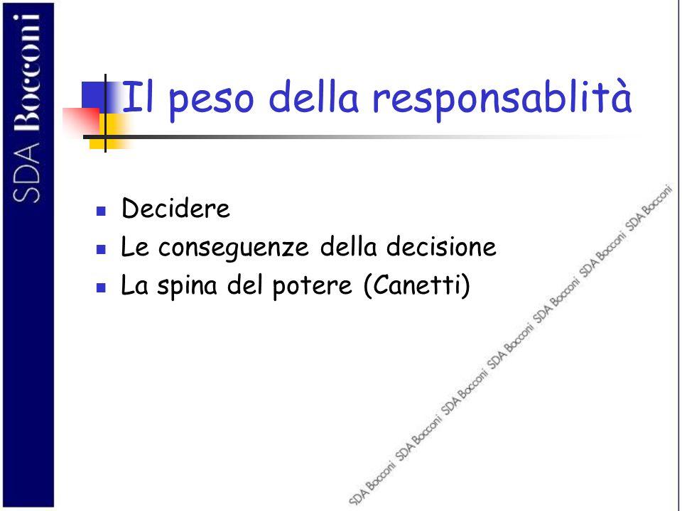 Il peso della responsablità Decidere Le conseguenze della decisione La spina del potere (Canetti)