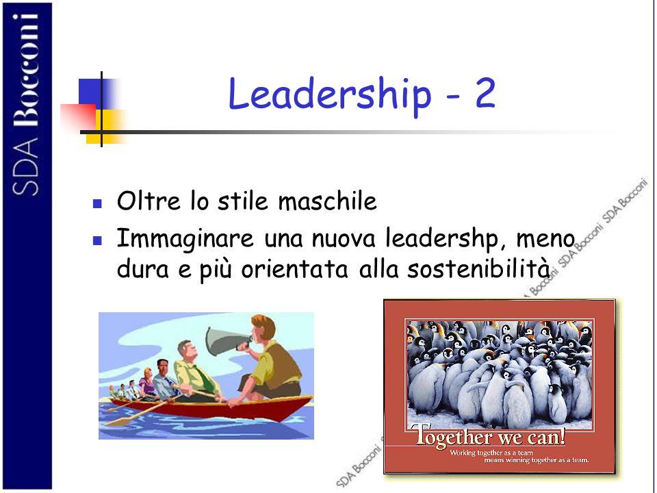 Leadership - 2 Oltre lo stile maschile Immaginare una nuova leadershp, meno dura e più orientata alla sostenibilità