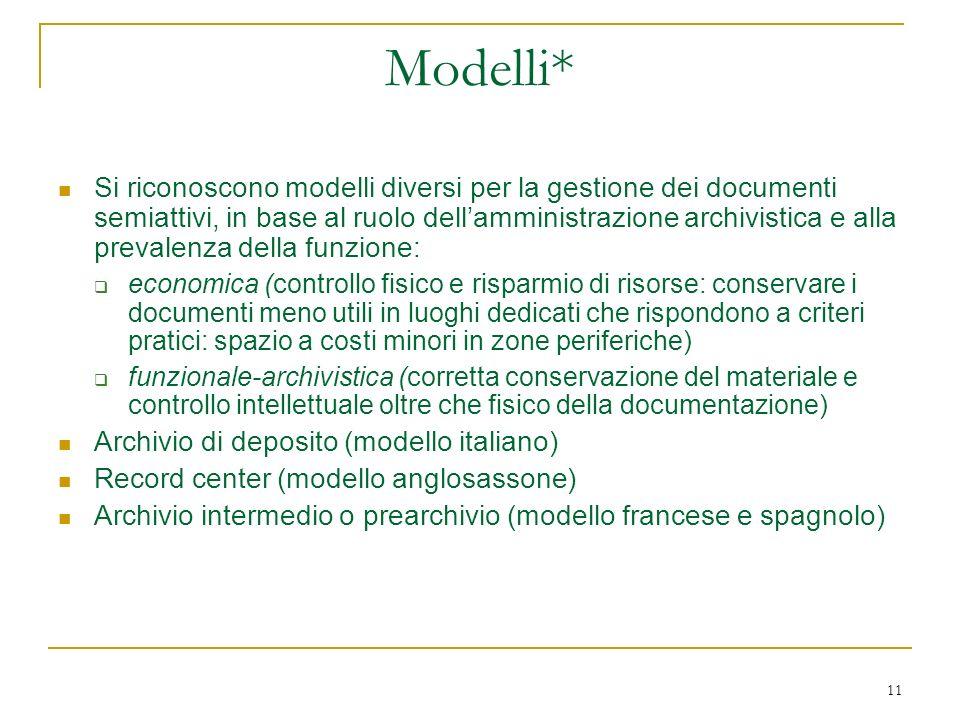 11 Modelli* Si riconoscono modelli diversi per la gestione dei documenti semiattivi, in base al ruolo dellamministrazione archivistica e alla prevalen