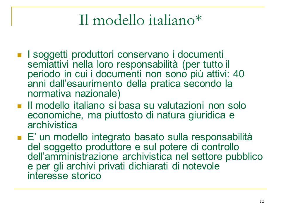12 Il modello italiano* I soggetti produttori conservano i documenti semiattivi nella loro responsabilità (per tutto il periodo in cui i documenti non