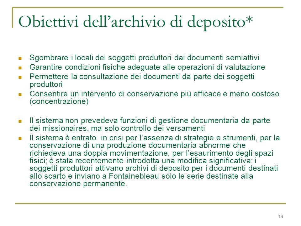 13 Obiettivi dellarchivio di deposito* Sgombrare i locali dei soggetti produttori dai documenti semiattivi Garantire condizioni fisiche adeguate alle