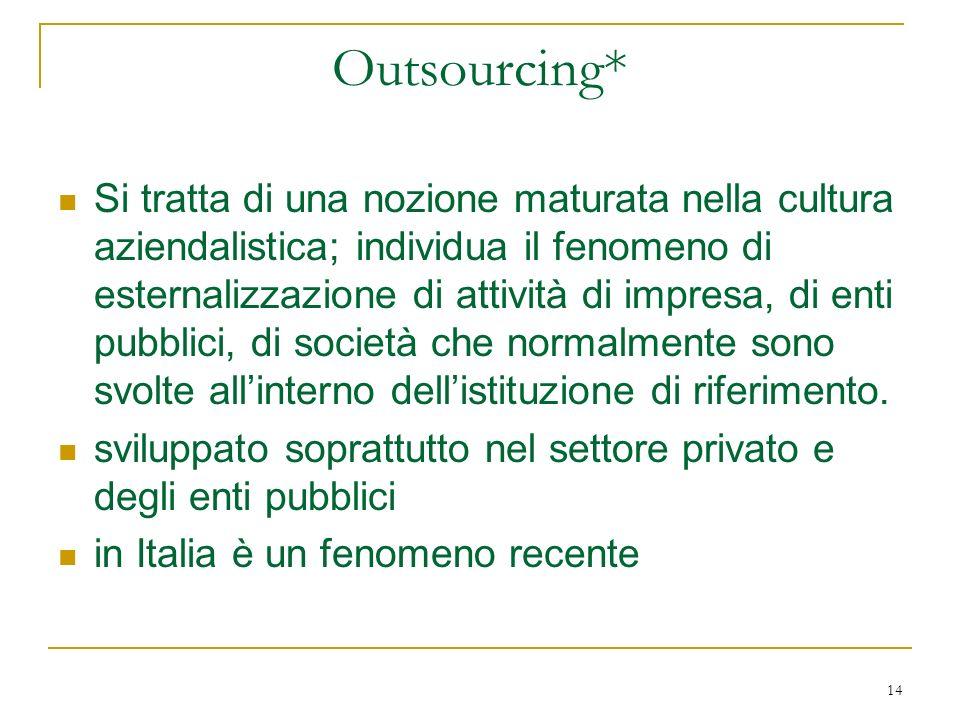 14 Outsourcing* Si tratta di una nozione maturata nella cultura aziendalistica; individua il fenomeno di esternalizzazione di attività di impresa, di