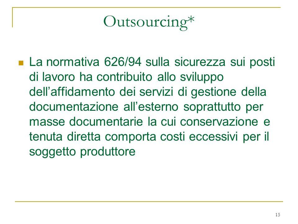 15 Outsourcing* La normativa 626/94 sulla sicurezza sui posti di lavoro ha contribuito allo sviluppo dellaffidamento dei servizi di gestione della documentazione allesterno soprattutto per masse documentarie la cui conservazione e tenuta diretta comporta costi eccessivi per il soggetto produttore