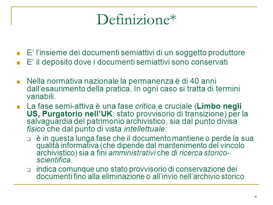 4 Definizione* E linsieme dei documenti semiattivi di un soggetto produttore E il deposito dove i documenti semiattivi sono conservati Nella normativa nazionale la permanenza è di 40 anni dallesaurimento della pratica.