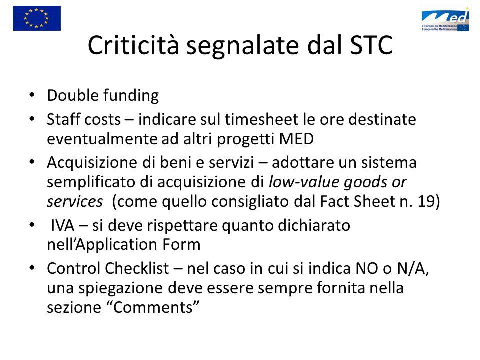 Criticità segnalate dal STC Double funding Staff costs – indicare sul timesheet le ore destinate eventualmente ad altri progetti MED Acquisizione di b