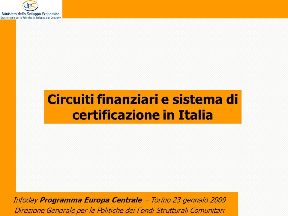 Direzione Generale per le Politiche dei Fondi Strutturali Comunitari Infoday Programma Europa Centrale – Torino 23 gennaio 2009 Circuiti finanziari e sistema di certificazione in Italia