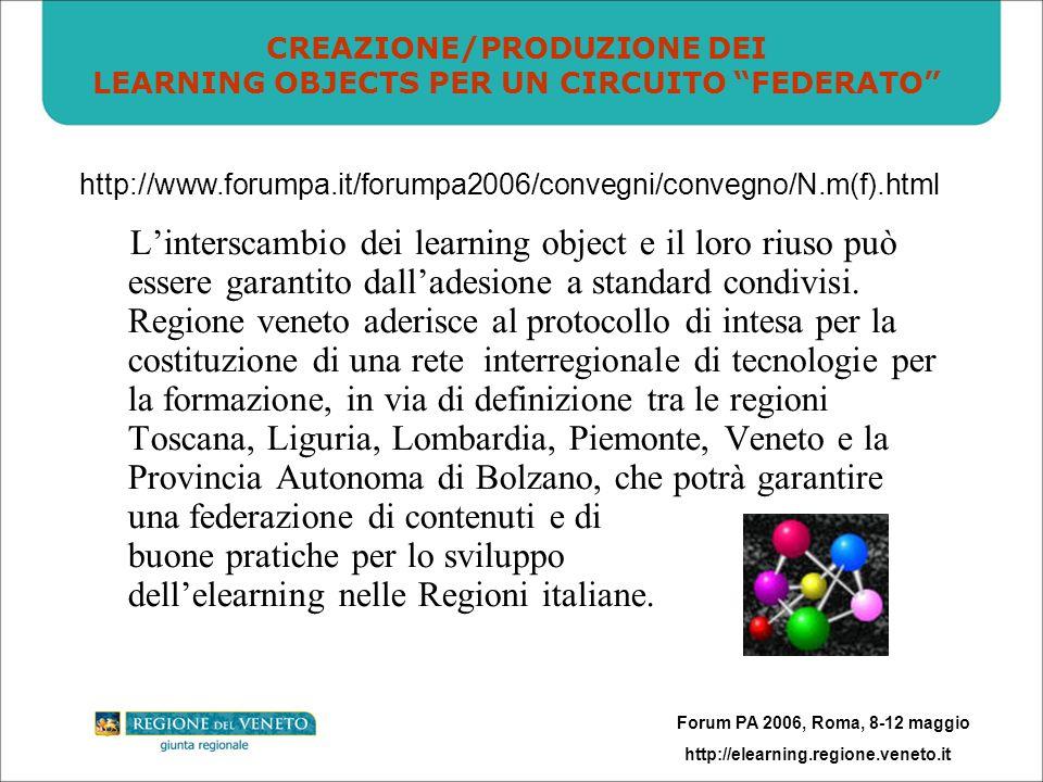 Forum PA 2006, Roma, 8-12 maggio http://elearning.regione.veneto.it Linterscambio dei learning object e il loro riuso può essere garantito dalladesione a standard condivisi.